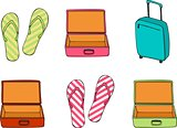 Business and family vacation travel luggage and Flip flops collection vector illustration