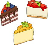 vector illustration of various cakes and pastries