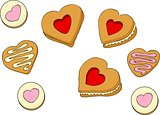 Heart shapes sweet cakes