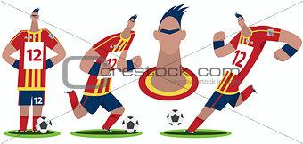 Set of funny cartoon soccer player