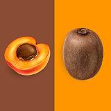 Apricot and kiwi. Vector illustration