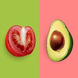 Avocado and tomato. Vector illustration