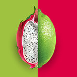 Dragon fruit and lime. Vector illustration