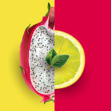 Dragon fruit and lemon. Vector illustration
