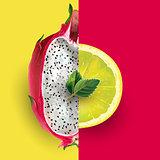 Dragon fruit and lemon. Vector illustration