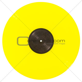 Yellow vinyl record isolated on white background