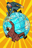 Two people fighting on the planet Earth