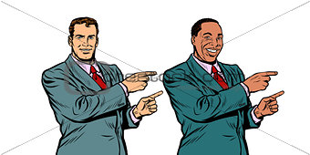 white and black businessman pointing finger sideways