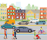 City with car traffic and pedestrians, illustration