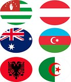 Vector illustration set of flags with names.