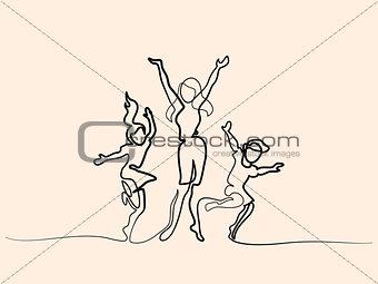 Happy mother dancing with children