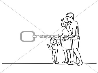 Happy pregnant woman with husband and son