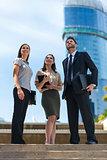Modern City Business Man Woman Team Looking Up