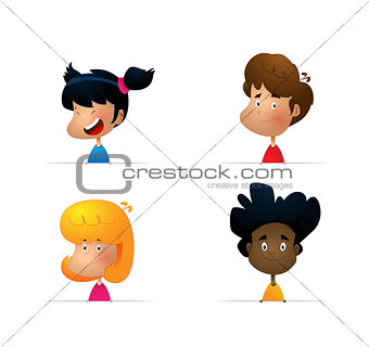 Cartoon collection of little boys portraits