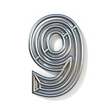 Wire outline font number 9 NINE 3D