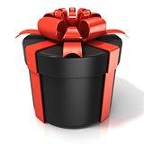 Black cylinder gift box isolated