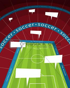 Soccer stadium with speech bubble
