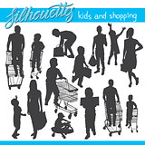 Kids and shopping vector silhouettes