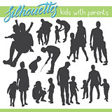 Happy family vector silhouettes