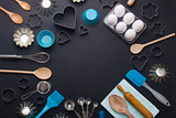 Baking background eggs kitchen tools shape cookie cutters