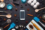 Baking background eggs kitchen tools mobile phone mockup