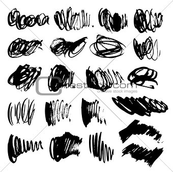 Vector brushed stains set