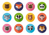 Vector icons set of wild and homes animals on a white background