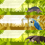 Set of banners with south america animals