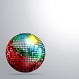 Rainbow disco ball and shadow background