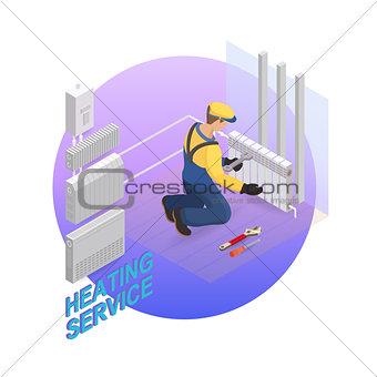 Home repair isometric template. Heating service. Vector flat 3d