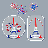 Bastille day badges. Eiffel tower and fireworks.