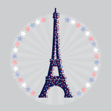 Eiffel tower icon with stars. Vector illustration.