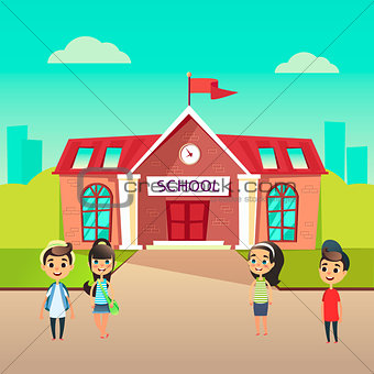 Group of pupils go to school together. Students talking in front of building schoolhouse. Welcome Back to school concept. Schoolboys and schoolgirls came to learn. The first day at school.