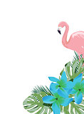 Vector Flamingo and Flowers