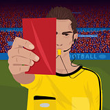 Referee whistling holding red card