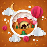 Desert landscape. Cartoon paper illstration. Camel, air balloon, cloud, moon, cactus.