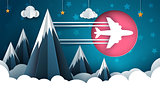 Airplane illustration. Cartoon cloud, star, mountain landscape.
