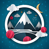 Cartoon paper landscape. Travel, train, cloud, star, mountain illustration, bird illustration