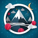 Cartoon paper landscape. Travel, train, cloud, star, mountain illustration, bird illustration