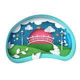Cartoon paper landscape. Bridge, leaf, street light, star, cloud illustration.