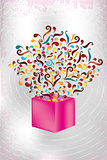 Magical pink gift box with colorful swirls