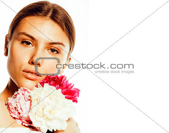 young beauty woman with flower peony pink closeup makeup soft te