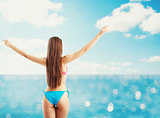 Woman in bikini starts holiday. concept of freedom and relax