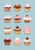 Cakes icons set with cream, chocolate, strawberry.