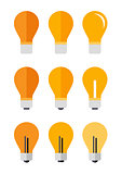 Icons set of nine lamp in a flat style.