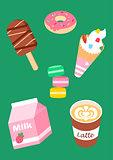 Sweets set of ice cream, strawberry milk, coffee latte, donut, macaroons.
