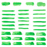 set of green paint water color brushes stroke