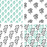 Seamless patterns with green and black florals