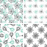 Patterns with green and black flowers