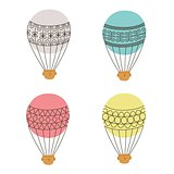 Aerostat air balloon outline colored icon set.